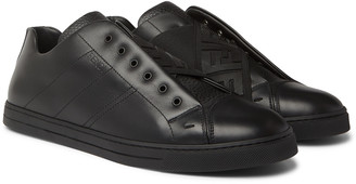 Fendi Smooth And Full-Grain Leather Slip-On Sneakers