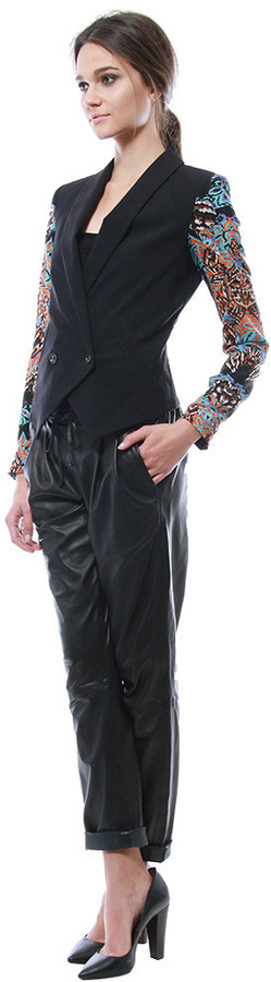 Cynthia Vincent Contrast Sleeve Scuba Blazer