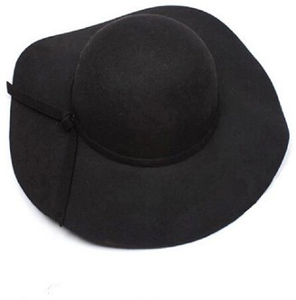 Skang Women's Girls Casual Fashion Faux Wool Solid Color Wide-Brimmed Felt Hat Bowling Fedora Hat Black
