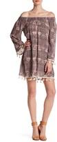 Just For Wraps Off-the-Shoulder Floral Pompom Dress