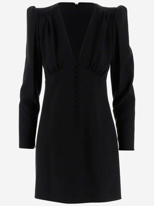 Saint Laurent Buttoned V-Neck Dress