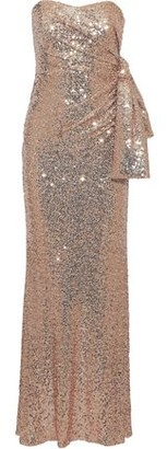 Badgley Mischka Strapless Knotted Sequined Stretch-mesh Gown