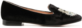 Kate Spade Metallic Cat-Embroidered Loafers