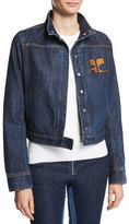 Courreges Short Logo Denim Jacket, Blue