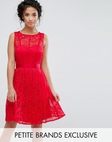 Little Mistress Petite Lace Skater Dress With Pleated Skirt