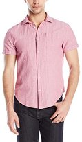 Scotch & Soda Men's Relaxed Short Sleeve Shirt In Crinkled Linen Quality