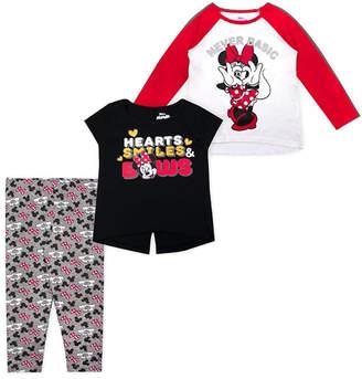 Children's Apparel Network Girls' Leggings - Minnie Mouse Red & White 'Never Basic' Raglan Tee Set - Toddler