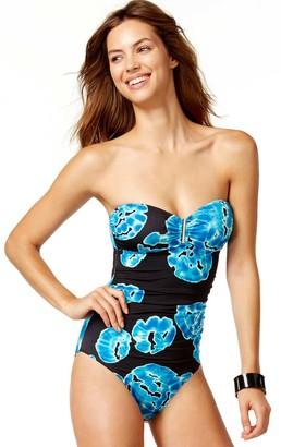 Calvin Klein Women's Tye Dye Bar Bandeau One Piece Swimsuit