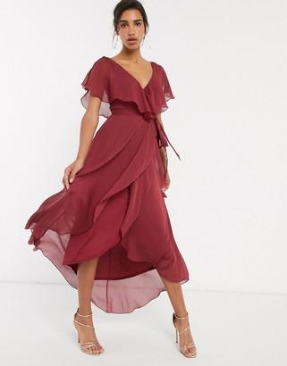 Asos Design DESIGN split sleeve cape back dipped hem maxi dress with tie shoulder-Red