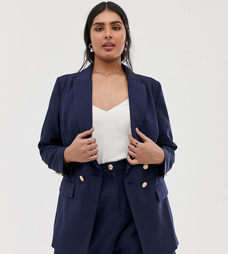 Lovedrobe double breast blazer co-ord with button detail in navy