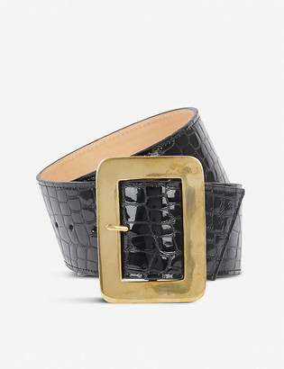 Black And Brown Maria crocodile-embossed patent-leather belt