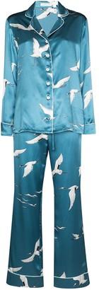 Olivia von Halle Lila Bird silk pyjamas
