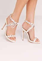 Missguided Studded Strap Barely There Sandal White