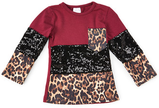 Royal Gem Girls' Tee Shirts Maroon - Maroon & Black Leopard Color Block Sequin Long-Sleeve Pocket Tee - Newborn, Infant, Toddler & Girls