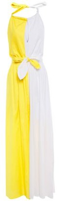 Mara Hoffman Bow-detailed Two-tone Cotton Halterneck Maxi Dress
