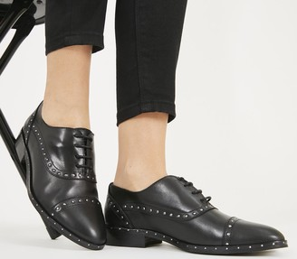 Office Flame Studded Lace Up Flats Black Leather Gold Studs