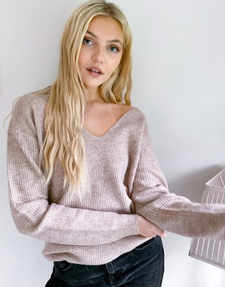 Pieces v neck knitted jumper in beige
