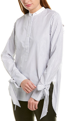 Rag & Bone Pinstripe Silk-Trim Top