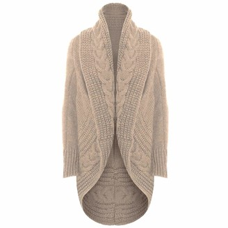 Xpose Ladies Women's Cable Knit Wool Open Long Sleeved Oversized Chunky Cardigan Shrug Cape Knitwear Outerwear Colours Available Charcoal Stone Black Silver Grey Wine Nude Khaki Cream Mustard (Stone)