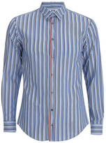 Msgm Striped Long Sleeve Shirt Blue