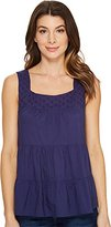 U.S. Polo Assn. Junior's Tiered Cambric and Eyelet Tank Top
