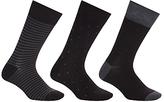 John Lewis Bamboo And Cotton Pattern Socks, Pack Of 3, Black/grey