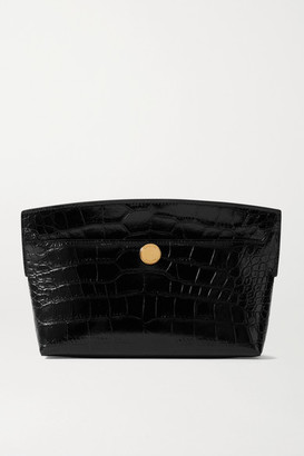 Burberry Glossed Croc-effect Leather Clutch - Black