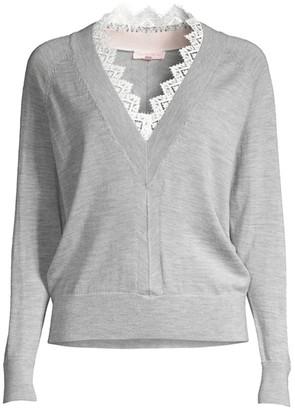 Rebecca Taylor Merino Wool Lace-Trim Sweater