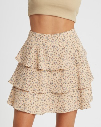 Calli - Women's Neutrals Mini skirts - Tellia Layered Skirt - Size 6 at The Iconic