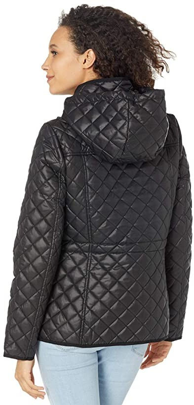 Thumbnail for your product : Kate Spade Short Diamond Quilted Snap Front Hooded Jacket