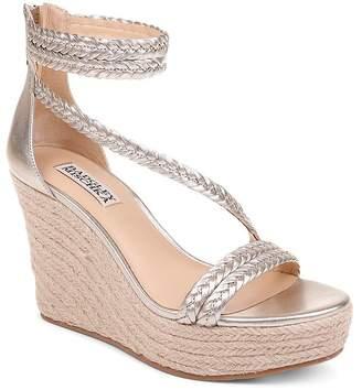 Badgley Mischka Women's Lita Metallic Leather Wedge Espadrille Sandals
