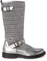 Naturino (Toddler/Kids Girls) Gunmetal Quilted Metallic Knee-High Boots