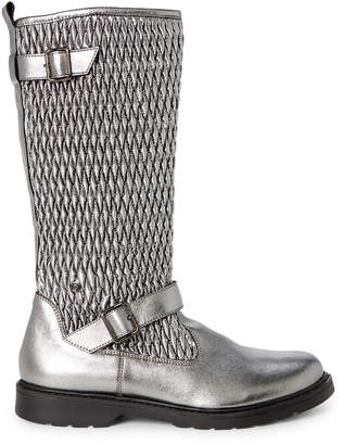 Naturino Toddler/Kids Girls) Gunmetal Quilted Metallic Knee-High Boots