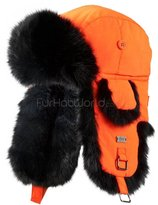 Frr Black B-52 Aviator Hat with Grey Rabbit Fur - S/M