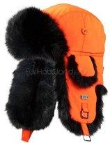 Frr Blaze Orange B-52 Aviator Hat with Black Rabbit Fur - L