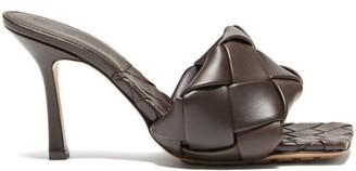 Bottega Veneta Lido Intrecciato Woven Leather Mules - Dark Brown