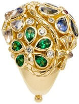 Temple St. Clair 18K Yellow Gold Flower Serpent Ring with Royal Blue Moonstone, Blue Sapphire, Tsavorite, Pink Tourmaline and Diamonds