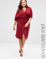 Club L Plus Wrap Front Dress With Kimono Sleeves