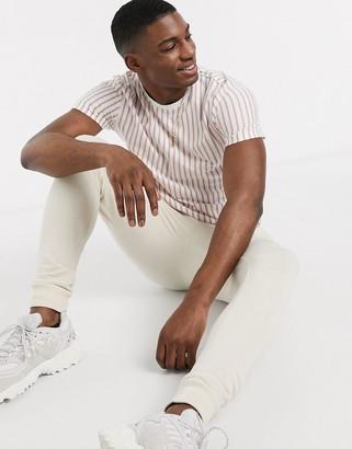 Topman t-shirt in pink & white stripe