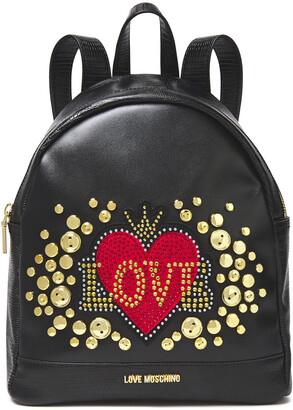 Love Moschino Embellished Smooth And Lizard-effect Faux Leather Backpack