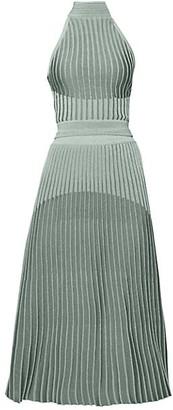 Balmain Lame Knit Halter Pleated Dress