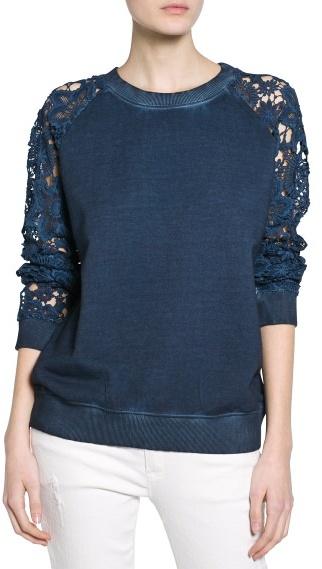 MANGO Outlet Crochet Sleeve Sweatshirt