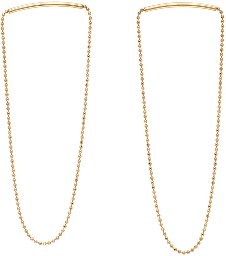 Saskia Diez SSENSE Exclusive Gold Melting Chain Earrings