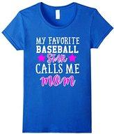 Women's BASEBALL MOM T-SHIRT DESIGN BASEBALL STAR CALLS ME MOM! Small