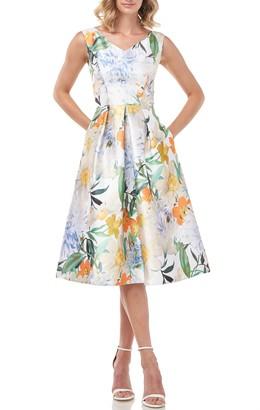 Kay Unger Irene Floral Print Mikado Cocktail Dress