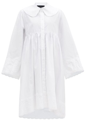 Simone Rocha Floral-embroidered Cotton-poplin Shirt Dress - White