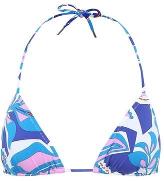 Emilio Pucci Beach Printed triangle bikini top