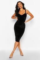 boohoo Velvet Bustier Midi Dress