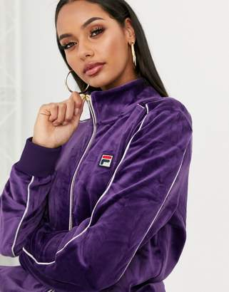 Fila tracksuit top with chest logo in velvet co-ord-Purple
