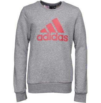 adidas Junior Girls Must Haves Badge Of Sport Crew Sweatshirt Medium Grey Heather/Pride Pink